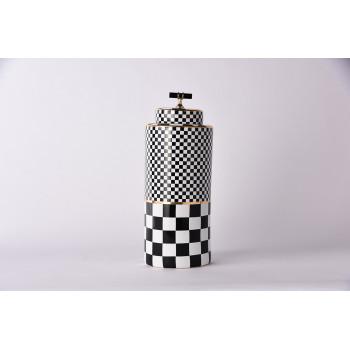 Керамическая ваза с крышкой Chess  черно-белая 37см 55RD4395L