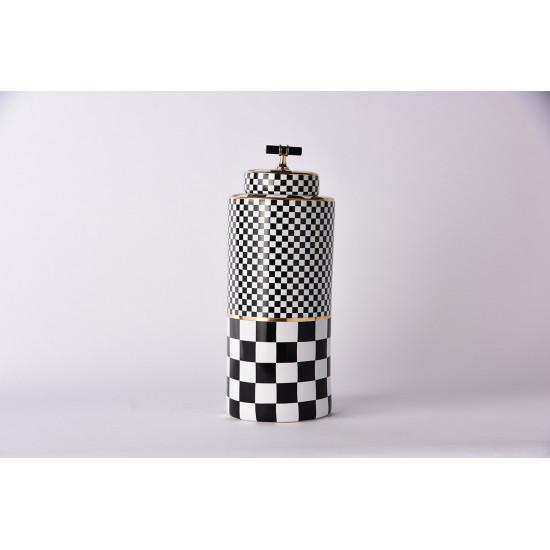 Керамическая ваза с крышкой Chess  черно-белая 37см 55RD4395L в интернет-магазине ROSESTAR фото