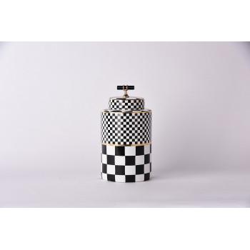 Керамическая ваза с крышкой Chess  черно-белая 26см 55RD4395M