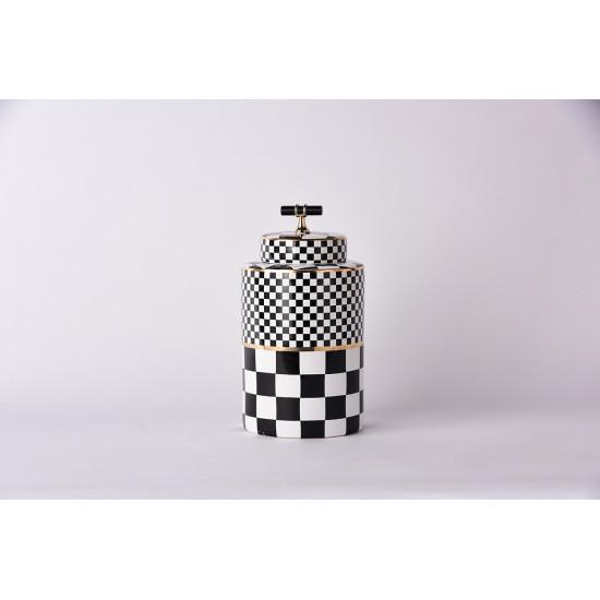 Керамическая ваза с крышкой Chess  черно-белая 26см 55RD4395M в интернет-магазине ROSESTAR фото