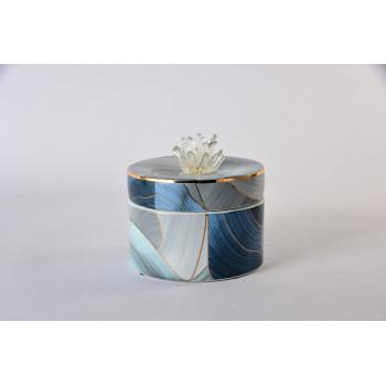 Керамическая шкатулка синяя с золотом 55RD4535L