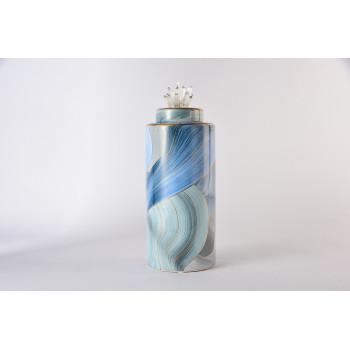 Керамическая ваза с крышкой голубая с золотом 24 см 55RD4536S