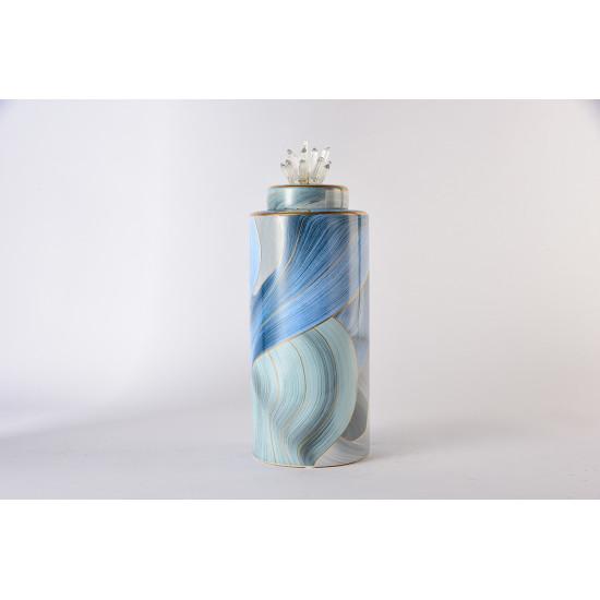 Керамическая ваза с крышкой голубая с золотом 24 см 55RD4536S в интернет-магазине ROSESTAR фото