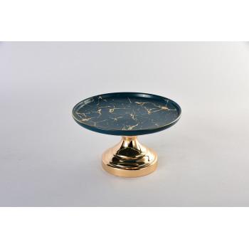 Декоративное керамическое блюдо на золотой подставке 55RD4557L