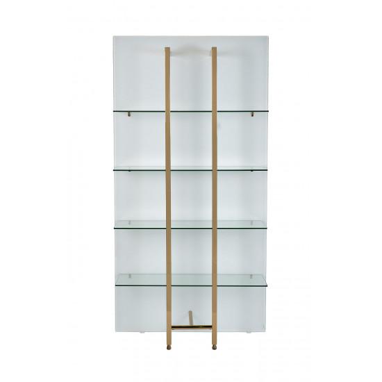 Стеллаж белый/золото со стеклянными полками 58DB-SH17071C в интернет-магазине ROSESTAR фото