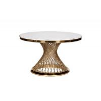 Стол обеденный круглый искусственный мрамор/золото 76AR-DT805
