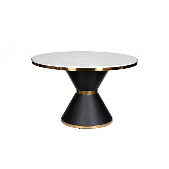 Стол обеденный круглый искусственный мрамор/черный металл 76AR-DT813 в интернет-магазине ROSESTAR фото