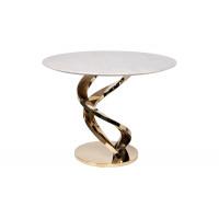 Стол обеденный белый искусственный мрамор/золото d100см 33FS-DT10075-PG