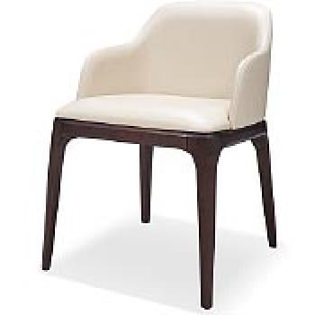 Кожаный стул с подлокотниками серый 44CW-537 (искусственная кожа)