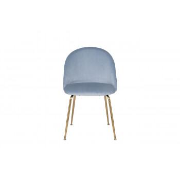 Велюровый стул на металлических ножках серо-голубой 30C-301-1G LBL