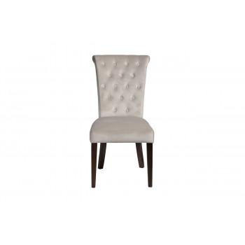 Велюровый бежевый стул на деревянных коричневых ножках 597-1K-КРЕМОВЫЙ-Riv21