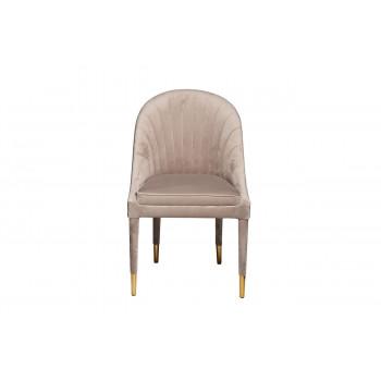 Велюровый стул на деревянных ножках жемчужно-серый