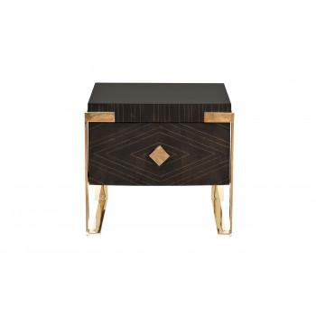 Тумбочка с выдвижным ящиком Golden Prism коричневая/золото 84HB-NS319U3