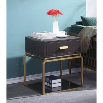 Тумбочка с выдвижным ящиком коричневая/матовое золото 76AR-NS642