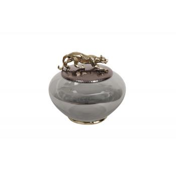 Декоративная стеклянная ваза с металлической крышкой Ягуар 69-120164