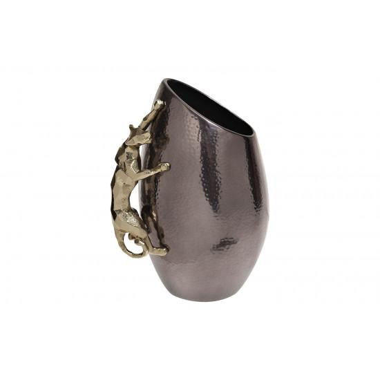 Декоративная металлическая ваза Ягуар черная с золотом 69-120176 в интернет-магазине ROSESTAR фото