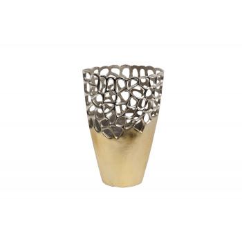 Металлическая ваза Соты золото/хром 71PN-2191