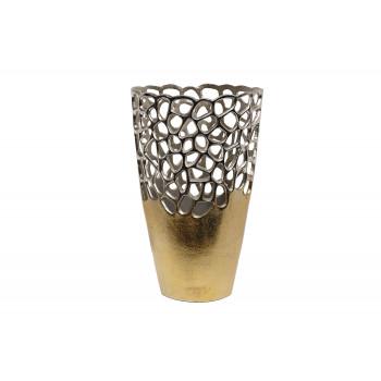 Металлическая ваза Соты золото/хром 71PN-2192