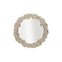 Декоративное фигурное зеркало в золотой металлической раме Соты 69-218455