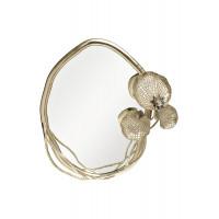 Декоративное фигурное зеркало в золотой металлической раме Флора 69-817051