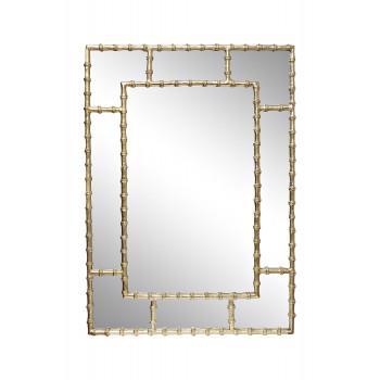Зеркало настенное в металлической золотой раме Бамбук 94PR-22351