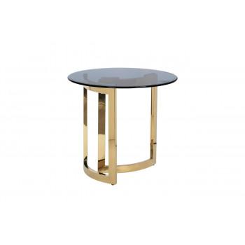 Журнальный столик круглый металлический с темным стеклом 47ED-ET062GOLD