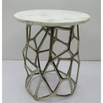Журнальный столик круглый с мраморной столешницей Сеть 69-119018
