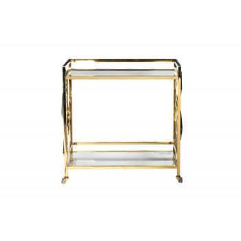 Cервировочный cтол-тележка прозрачное стекло/золото GGY-CRT8164GOLD