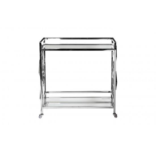 Cервировочный cтол-тележка прозрачное стекло/хром GY-CRT8164 в интернет-магазине ROSESTAR фото