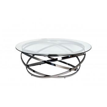 Журнальный столик круглый металлический с прозрачным стеклом Хром GY-CT8402BL