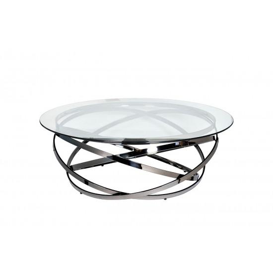 Журнальный столик круглый металлический с прозрачным стеклом Хром GY-CT8402BL в интернет-магазине ROSESTAR фото
