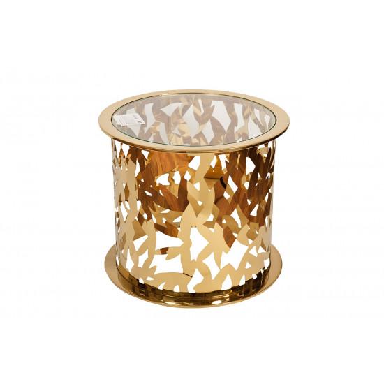 Круглый журнальный столик прозрачное стекло/золото GY-ET8158GOLD в интернет-магазине ROSESTAR фото