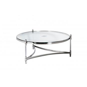 Круглый металлический журнальный столик с прозрачным стеклом на основании цвета Хром GY-CT1000