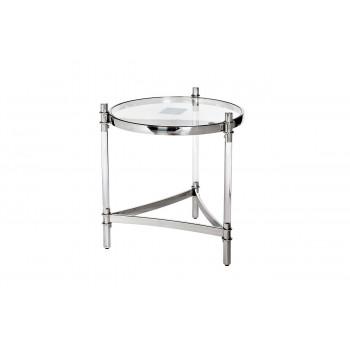 Круглый металлический журнальный столик с прозрачным стеклом GY-ET1100