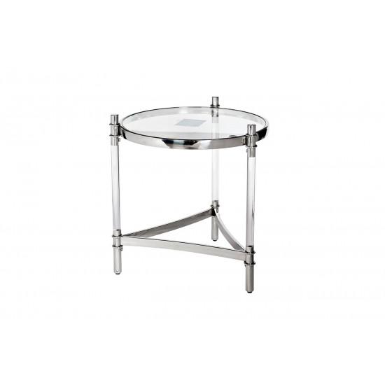 Круглый металлический журнальный столик с прозрачным стеклом GY-ET1100 в интернет-магазине ROSESTAR фото