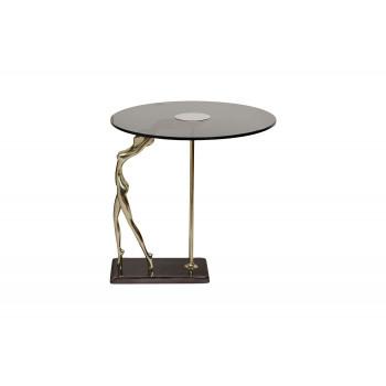 Журнальный столик круглый с черным закаленным стеклом Нимфа 69-1118119