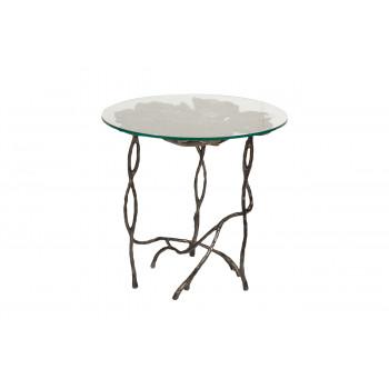 Журнальный столик круглый с прозрачным стеклом Листья 69-1119204