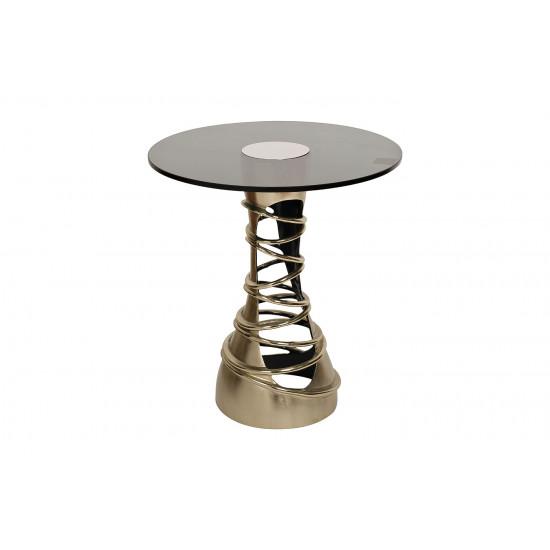 Журнальный столик на металлической основе с черным прозрачным стеклом Циклон 69-219043 в интернет-магазине ROSESTAR фото