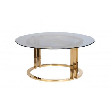 Журнальный столик круглый металлический с темным стеклом 47ED-GDCT002