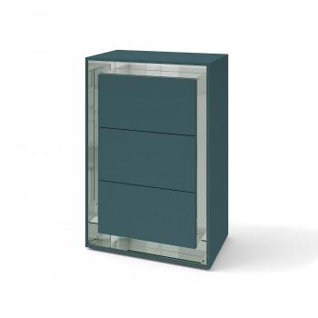 Зеркальный комод Фокус Сине-зеленый серебро