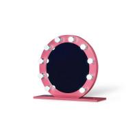 Круглое настольное гримерное розовое зеркало с лампочками Пинк 80 см