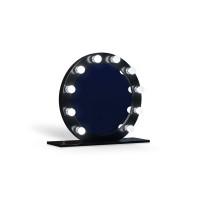 Круглое настольное гримерное черное зеркало с лампочками Блэк 80 см