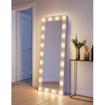 Гримерное зеркало с подсветкой лампами в полный рост в белой раме Джоди 80х190 см