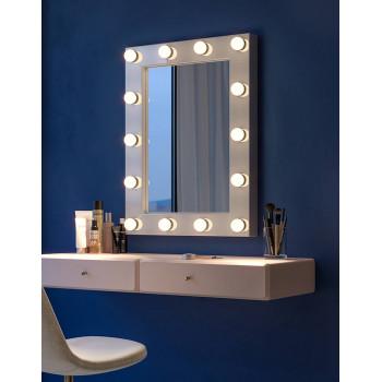 Настенное гримерное зеркало со светодиодной подсветкой в белой раме Джуди