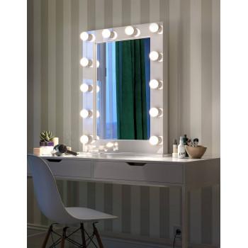 Гримерное голливудское настольное зеркало в раме с подсветкой LED-лампочками Холли
