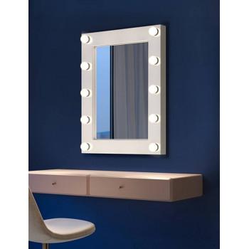 Настенное гримерное зеркало в белой раме Кларин