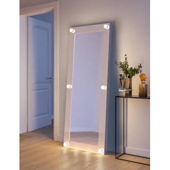 Гримерное зеркало с лампочками в полный рост в белой раме Ларсен 80х180 см