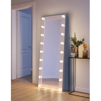 Гримерное зеркало с LED-лампочками в полный рост в белой раме Мариса 80х180 см