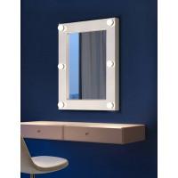 Настенное гримерное зеркало с LED-подсветкой в белой раме Милла