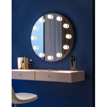 Круглое гримерное зеркало в металлическом коробе Сара